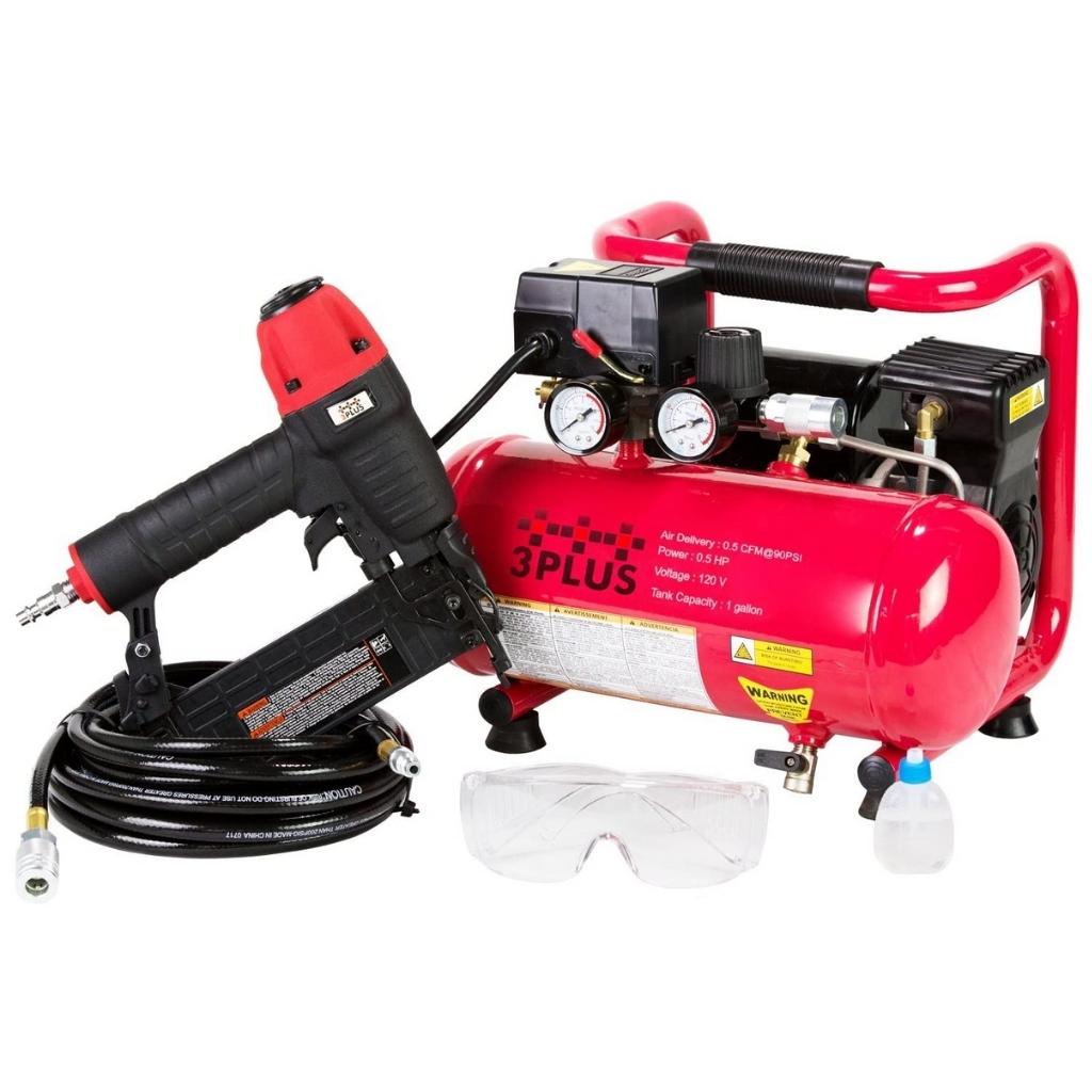 3PLUS HCB050401 18-Gauge Brad Nailer and Quiet Air Compressor Combo kit