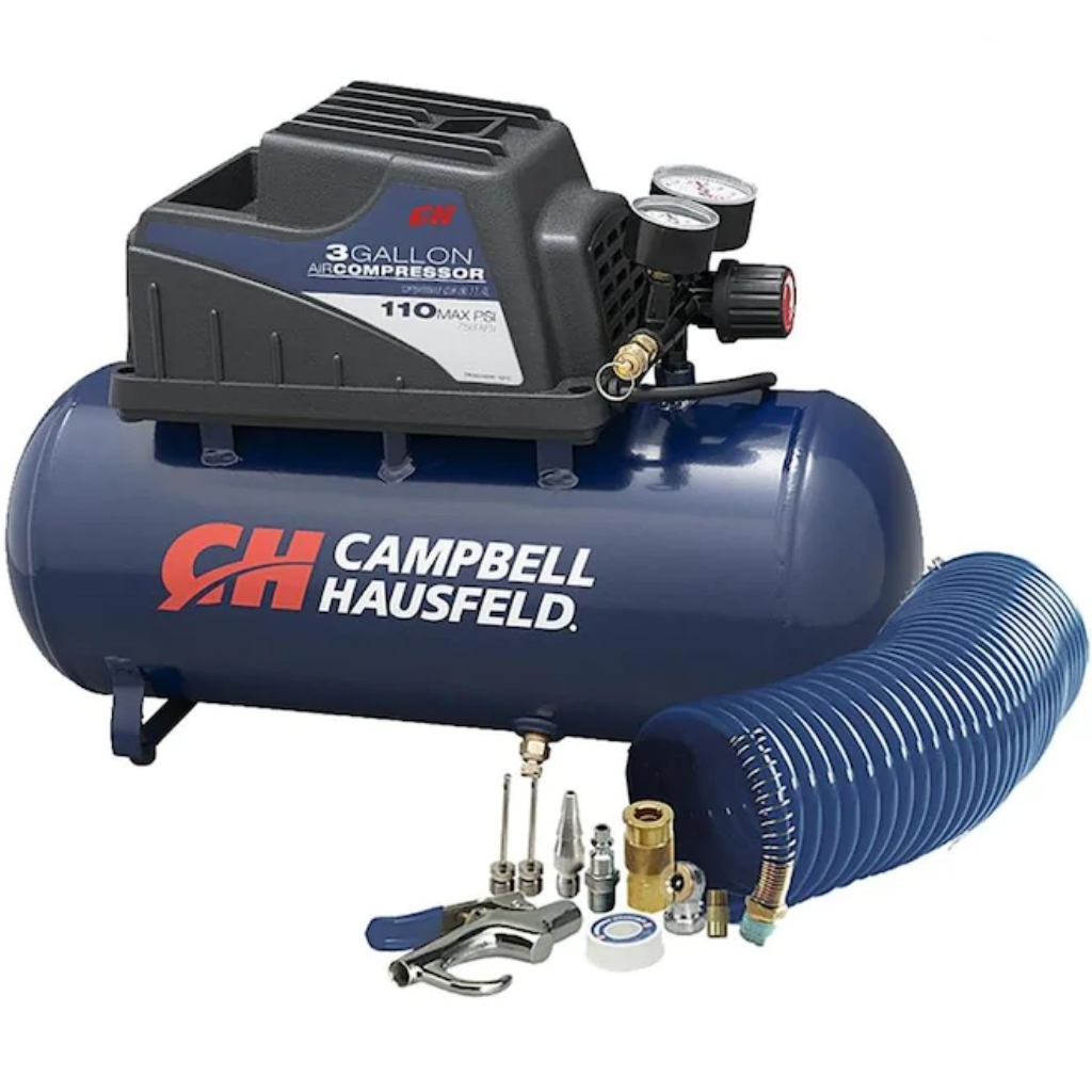 Air Compressor Portable 3 Gallon Horizontal Oilless w/ 10 Piece Accessory Kit Including Air Hose & Inflation Gun (Campbell Hausfeld FP209499AV)