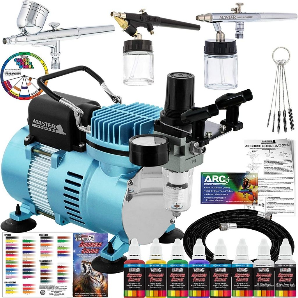 Master Airbrush Professional CoolRunner II Dual Fan Air Compressor Airbrushing System Kit with 6 Primary Opaque Colors Acrylic Paint Artist Set, 3 Airbrushes, Gravity and Siphon Feed