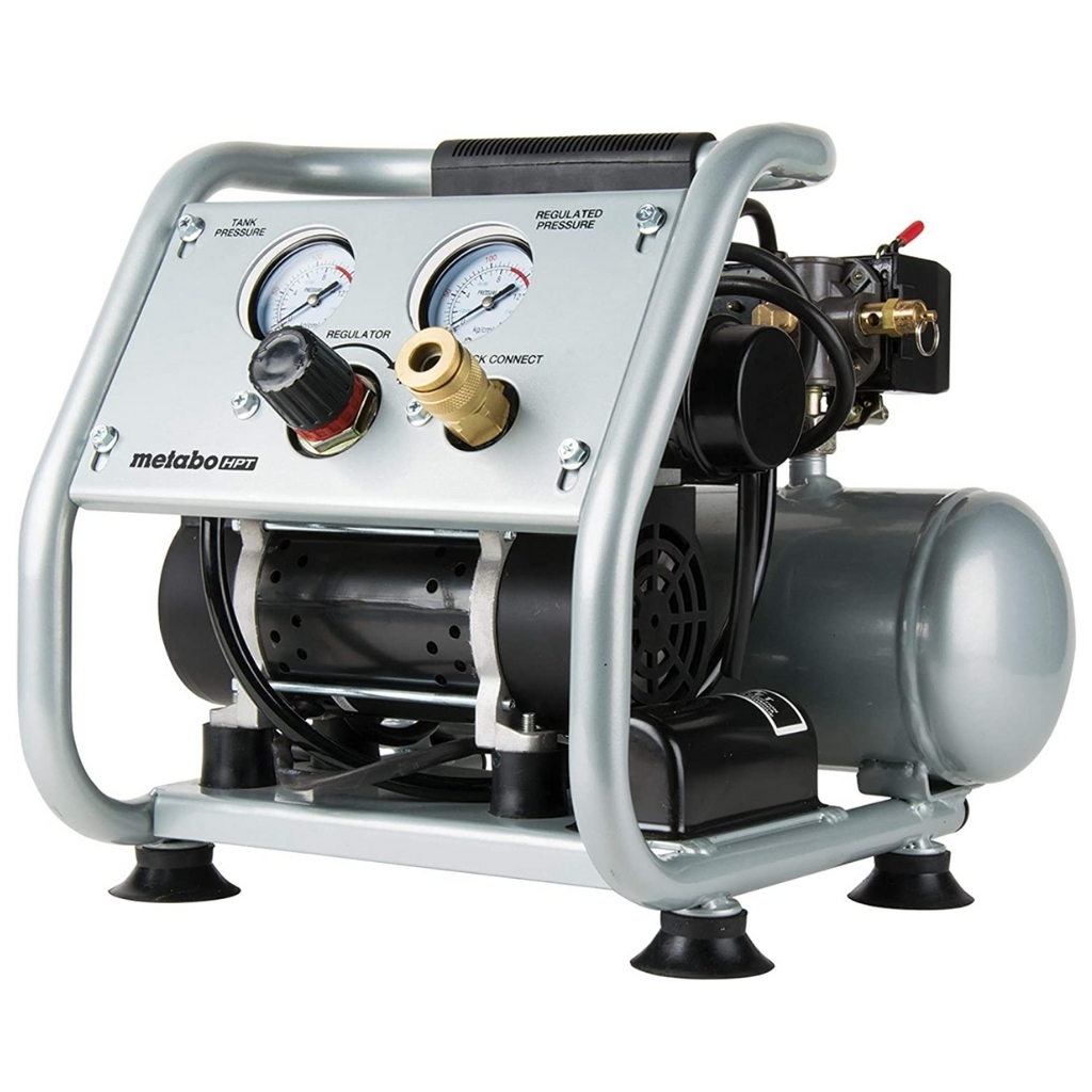 Metabo-HPT-Air-Compressor-Ultra-Quiet-59-dB-Portable-Oil-Free-Pump-1-Gallon-Tank-Capacity-Steel-Roll-Cage-w_-Rubber-Grip-Compact-and-Lightweight-EC28M